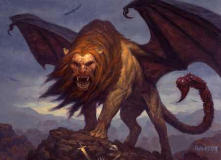 manticore monstre hybride corps de lion et queue de scorpion. Black Bedroom Furniture Sets. Home Design Ideas