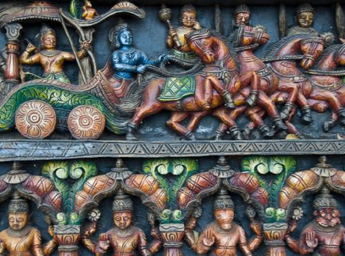 Le Mahâbhârata, Krishna conduit le char d'Arjuna