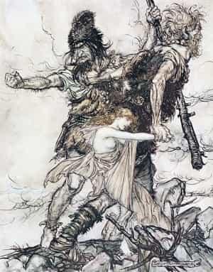 Les Jötunn Faslot et Fafner enlèvent Freyja